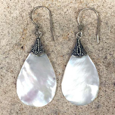 ER 11803 MP-(HANDMADE 925 BALI SILVER EARRINGS WITH MOTHER OF PEARL)