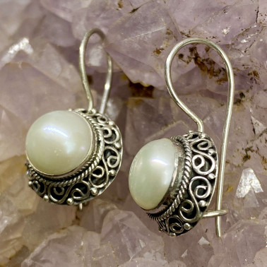 ER 11997 A-PL-(HANDMADE 925 BALI SILVER FILIGREE EARRINGS WITH PEARL)