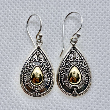 ER 12078-(UNIQUE 925 BALI SILVER EARRINGS WITH 18 KT GOLD ACCENT)