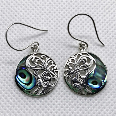 ER 12122 AB-(BALI 925 STERLING SILVER BUTTERFLY EARRINGS WITH ABALONE)