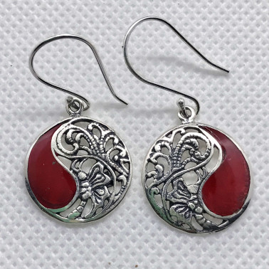 ER 12122 CR-(925 BALI STERLING SILVER BUTTERFLY EARRINGS WITH CORAL)
