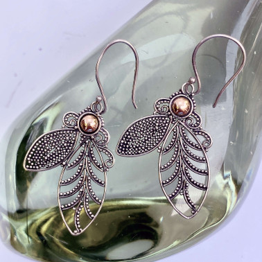 ER 12173-(HANDMADE 925 BALI SILVER EARRINGS WITH 18KT GOLD ACCENT)