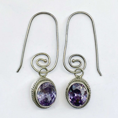 ER 12188 SC-(HANDMADE 925 BALI STERLING SILVER EARRINGS WITH ZIRCONIA)