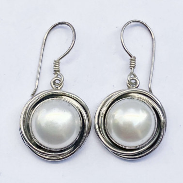 ER 12418 PL-(HANDMADE 925 BALI STERLING SILVER EARRINGS WITH MABE PEARL