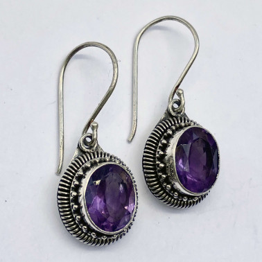 ER 12473 B-AM-(HANDMADE 925 BALI STERLING SILVER EARRINGS WITH AMETHYST)