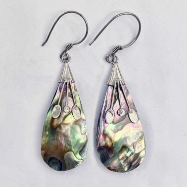 ER12513 AB-(925 BALI SILVER EARRINGS WITH ABALONE SHELL)