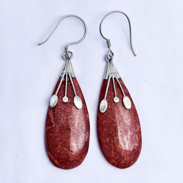 ER 12513 CR-(925 BALI SILVER EARRINGS WITH CORAL)
