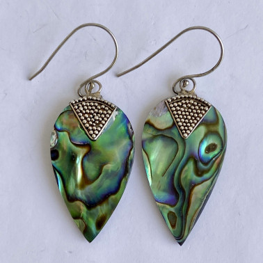 ER 12514 AB-(HANDMADE 925 BALI SILVER EARRINGS WITH ABALONE)