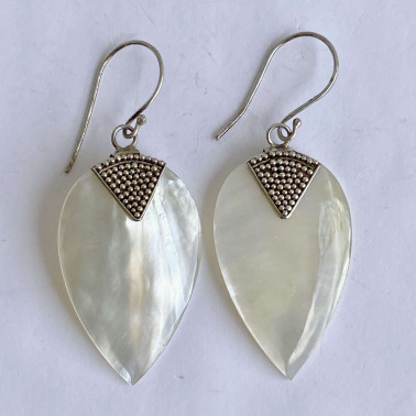 ER 12514 MP-(925 BALI SILVER EARRINGS WITH MOTHER OF PEARL)