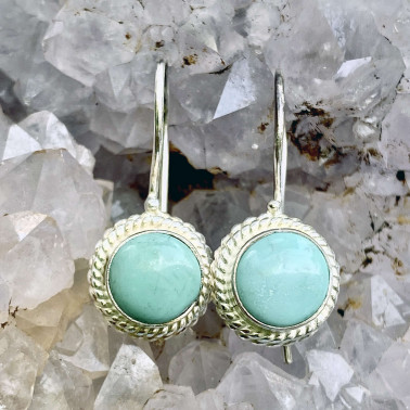 ER 12569 G-TQ-(HANDMADE 925 BALI STERLING SILVER EARRINGS WITH TURQUOISE)