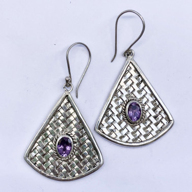 ER 12763 AM-(HANDMADE 925 BALI STERLING SILVER WOVEN EARRINGS WITH AMETHYST)