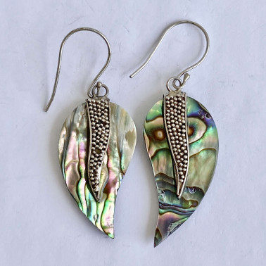 ER 12938 AB-(HANDMADE 925 BALI SILVER GRANULATED EARRINGS WITH ABALONE)