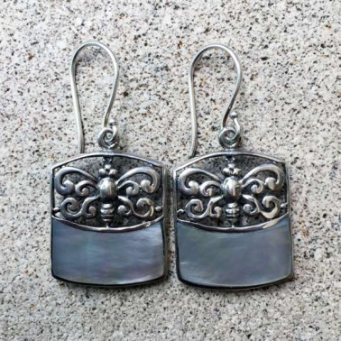 ER 13241 MP-(925 BALI SILVER BUTTERFLY EARRINGS WITH MOTHER OF PEARL)