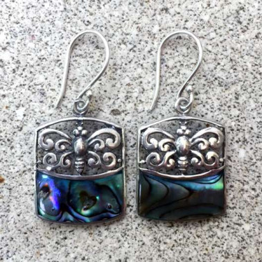 ER 13241 AB-(925 BALI SILVER BUTTERFLY EARRINGS WITH ABALONE SHELL)