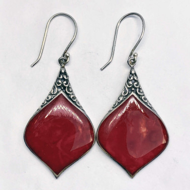 ER 13248 coral-(HANDMADE 925 BALI SILVER EARRINGS WITH CORAL)