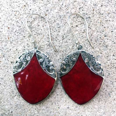 ER 13249 CR-(HANDMADE 925 BALI SILVER EARRINGS WITH CORAL)