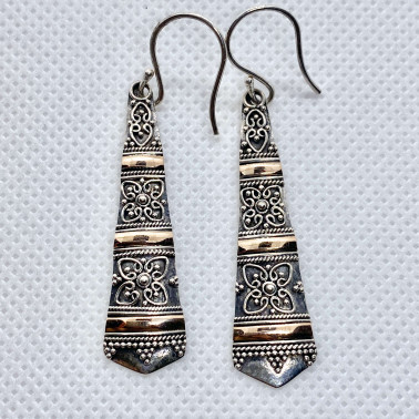 ER 13526-(UNIQUE 925 BALI SILVER FILIGREE EARRINGS WITH 18 KT GOLD ACCENT)