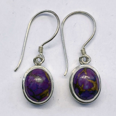 ER 13553 PMV-(HANDMADE 925 BALI STERLING SILVER EARRINGS WITH PURPLE MOHAVE)