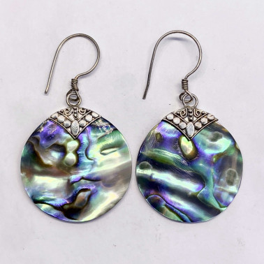 ER 13634 AB-(BALI 925 STERLING SILVER EARRINGS WITH ABALONE)