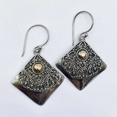 ER 13757-(HANDMADE 925 BALI SILVER FILIGREE EARRINGS WITH 18KT GOLD ACCENT)