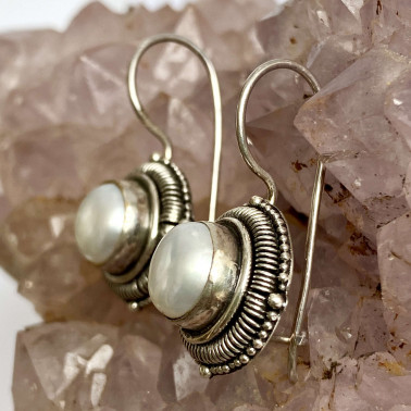 ER 13798 PL-(HANDMADE 925 BALI SILVER FILIGREE EARRINGS WITH PEARL)