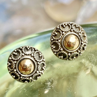 ER 13847 B-(HANDMADE 925 BALI SILVER EARRINGS WITH 18KT GOLD ACCENT)