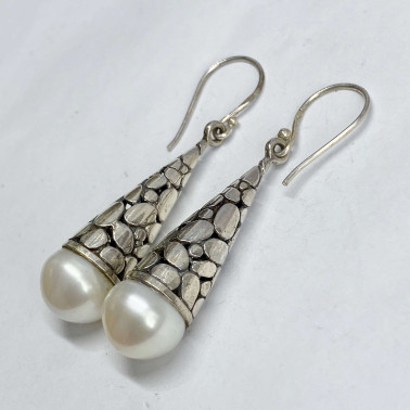 ER 13872 PL-(HANDMADE 925 BALI SILVER BATU KALI EARRINGS WITH PEARL)