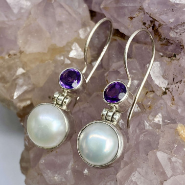 ER 13880 PL-AM-(925 BALI STERLING SILVER EARRINGS WITH PEARL - AMETHYST)