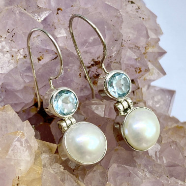 ER 13880 PL-BT-(925 BALI STERLING SILVER EARRINGS WITH PEARL - TOPAZ)