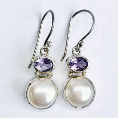 ER 13883 B-PL-AM-(925 BALI STERLING SILVER EARRINGS WITH PEARL - AMETHYST)