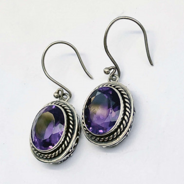 ER 13897 AM-(HANDMADE 925 BALI STERLING SILVER EARRINGS WITH AMETHYST)