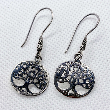 ER 13950-(UNIQUE 925 BALI STERLING SILVER THREE OF LIFE EARRINGS)