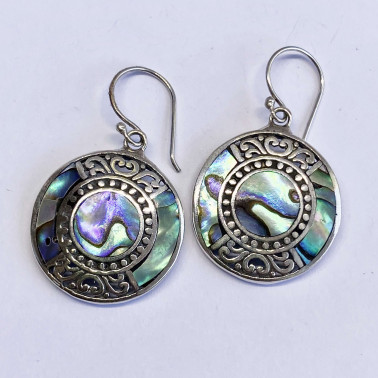 ER 13958 AB-(BALI 925 STERLING SILVER EARRINGS WITH ABALONE)