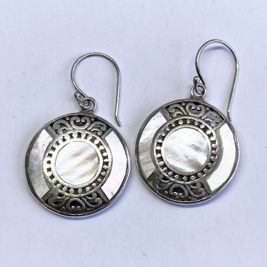 ER 13958 MP-(BALI 925 STERLING SILVER EARRINGS WITH MOTHER OF PEARL)