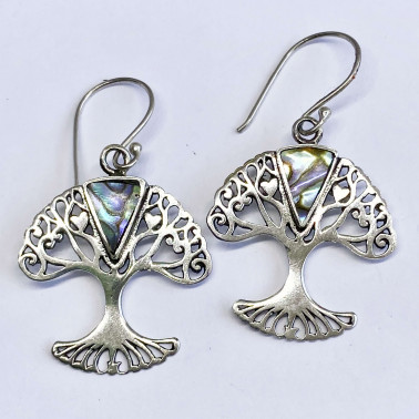 ER 13959 AB-(BALI 925 STERLING SILVER TREE OF LIFE EARRINGS WITH ABALONE)