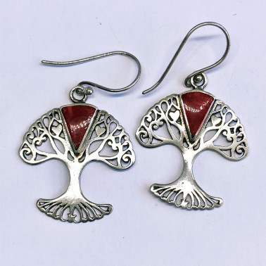 ER 13959 CR-(BALI 925 STERLING SILVER TREE OF LIFE EARRINGS WITH CORAL)