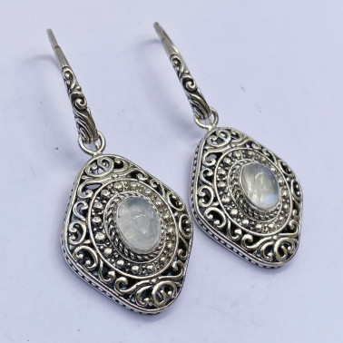ER 14015 MS-(HANDMADE 925 BALI SILVER FILIGREE EARRINGS WITH MOONSTONE)