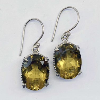 ER 14016 LQ-(HANDMADE 925 BALI STERLING SILVER EARRINGS WITH LEMON QUARTZ)