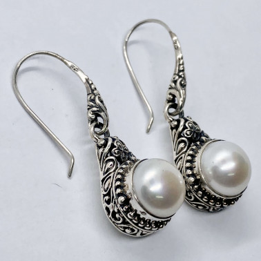 ER 14027 B-PL-(HANDMADE 925 BALI SILVER EARRINGS WITH MABE PEARL)