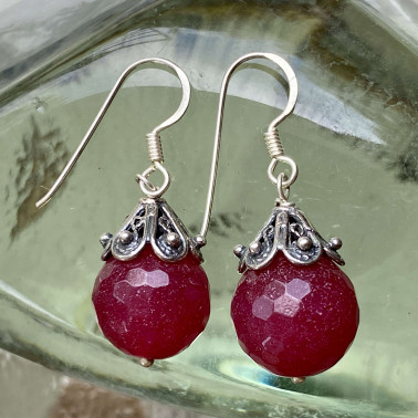 ER 14047 RB-(HANDMADE 925 BALI STERLING SILVER EARRINGS WITH RUBY)