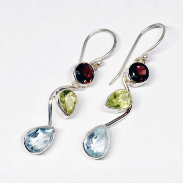 ER 14052 MX-(HANDMADE 925 BALI SILVER EARRINGS WITH MIX GEMSTONES)