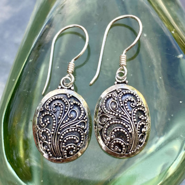 ER 14151-(HANDMADE 925 BALI STERLING SILVER FILIGREE EARRINGS)