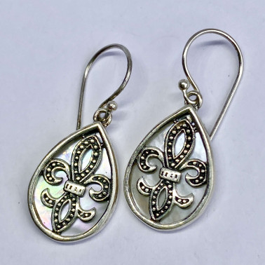 ER 14192 MP-(BALI 925 STERLING SILVER EARRINGS WITH MOTHER OF PEARL)