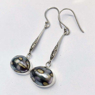 ER 14194 B-NT-(HANDMADE 925 BALI SILVER FILIGREE EARRINGS WITH NAUTILUS SHELL)