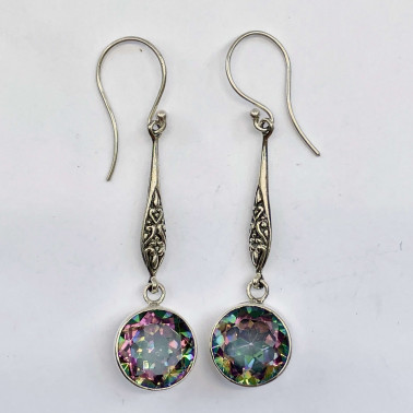 ER 14194 MT-(HANDMADE 925 BALI STERLING SILVER EARRINGS WITH MYSTIC TOPAZ)