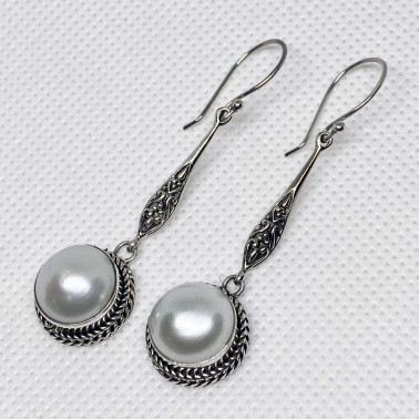 ER 14194 B-PL-(HANDMADE 925 BALI SILVER EARRINGS WITH PEARL)