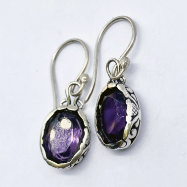 ER 14299 AM-(HANDMADE 925 BALI STERLING SILVER EARRINGS WITH AMETHYST)