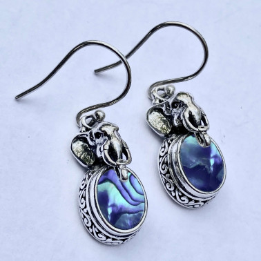 PD 14437 AB-(HANDMADE 925 BALI SILVER ELEPHANT EARRINGS WITH ABALONE)