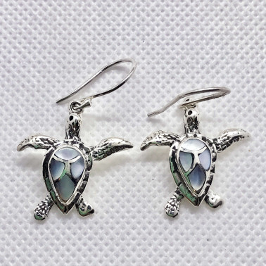 ER 14439 MP-(HANDMADE 925 SILVER BALI TURTLE EARRINGS WITH MOTHER OF PEARL)