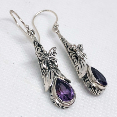 ER 14444 AM-(UNIQUE 925 BALI SILVER BUTTERFLY EARRINGS WITH AMETHYST)